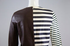 CELINE R13 Brown Ivory Navy Green Striped Leather Long Sleeve Pullover Top FR 38