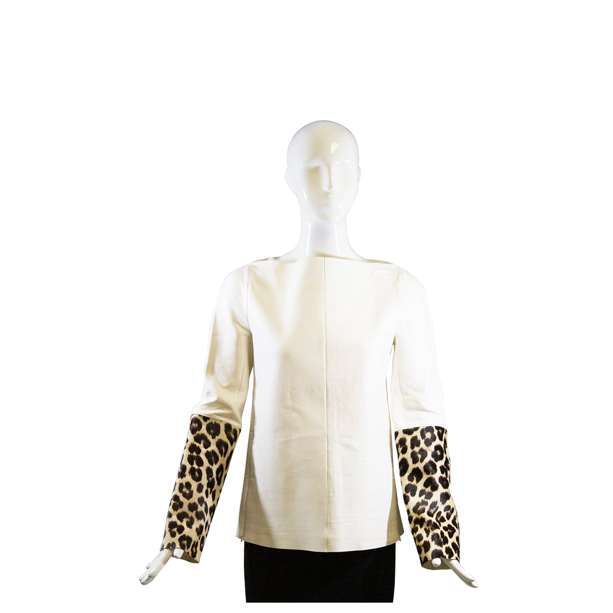 CELINE R13 Ivory Beige Leather Leopard Print Hair Calf Sleeve Pullover Top FR 38