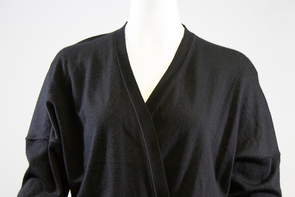 'Sold' TOM FORD Black V Neck Silver Zip Wrap Cashmere Silk Knit Cardigan Sweater Top M