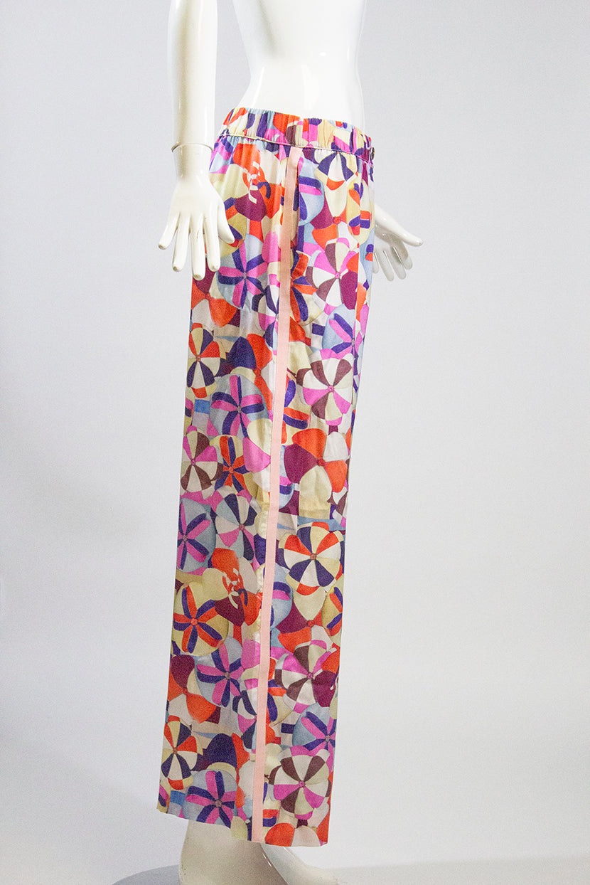 'Sold' CHANEL 16C Paris Seoul Multi Color Pink Grosgrain Trim Silk Wide Leg Pants M 42
