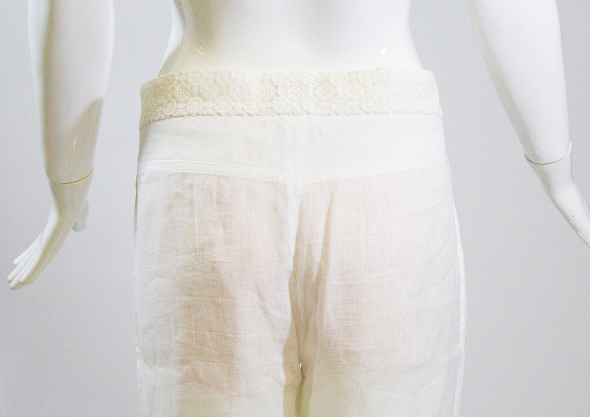 CHANEL 15C White Linen Floral Cotton Lace Waist Front Zip Straight Leg Pants 42