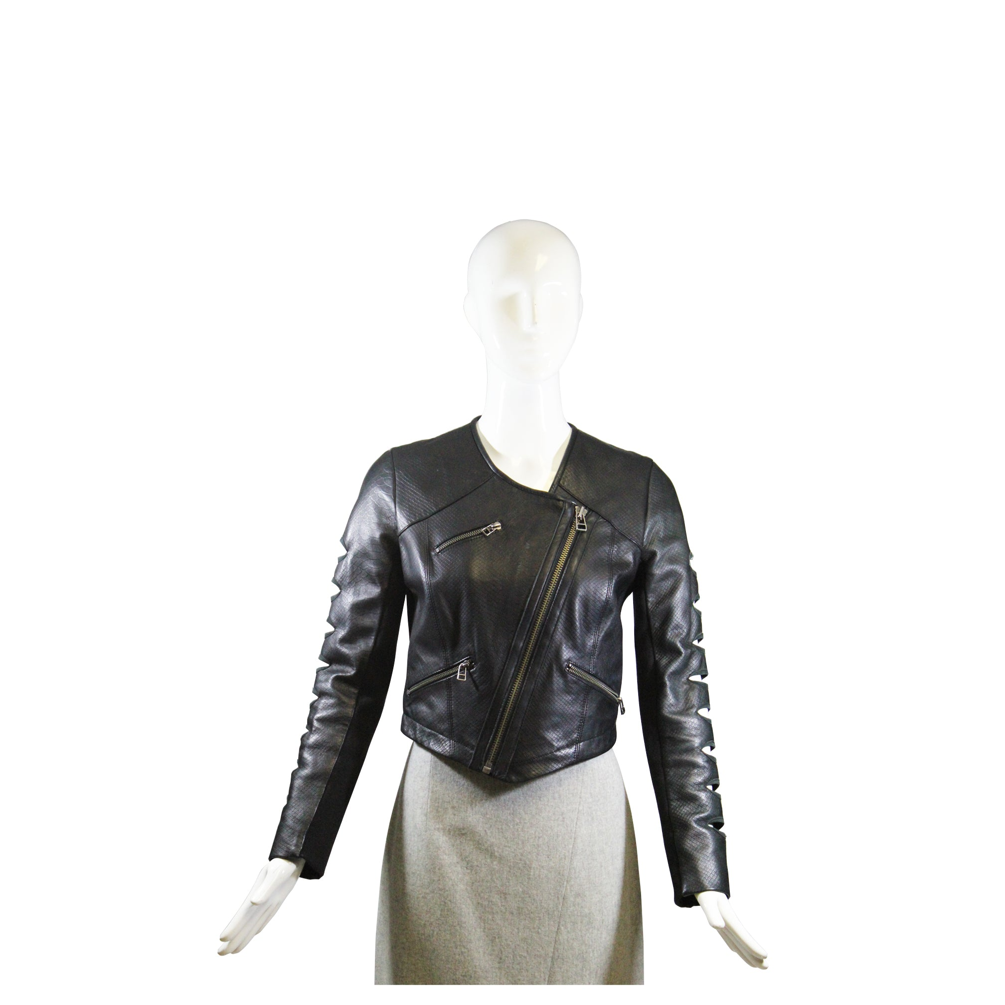 YIGAL AZROUEL Black Python Embossed Leather Cut Out Asymmetric Zip Moto Jacket 6