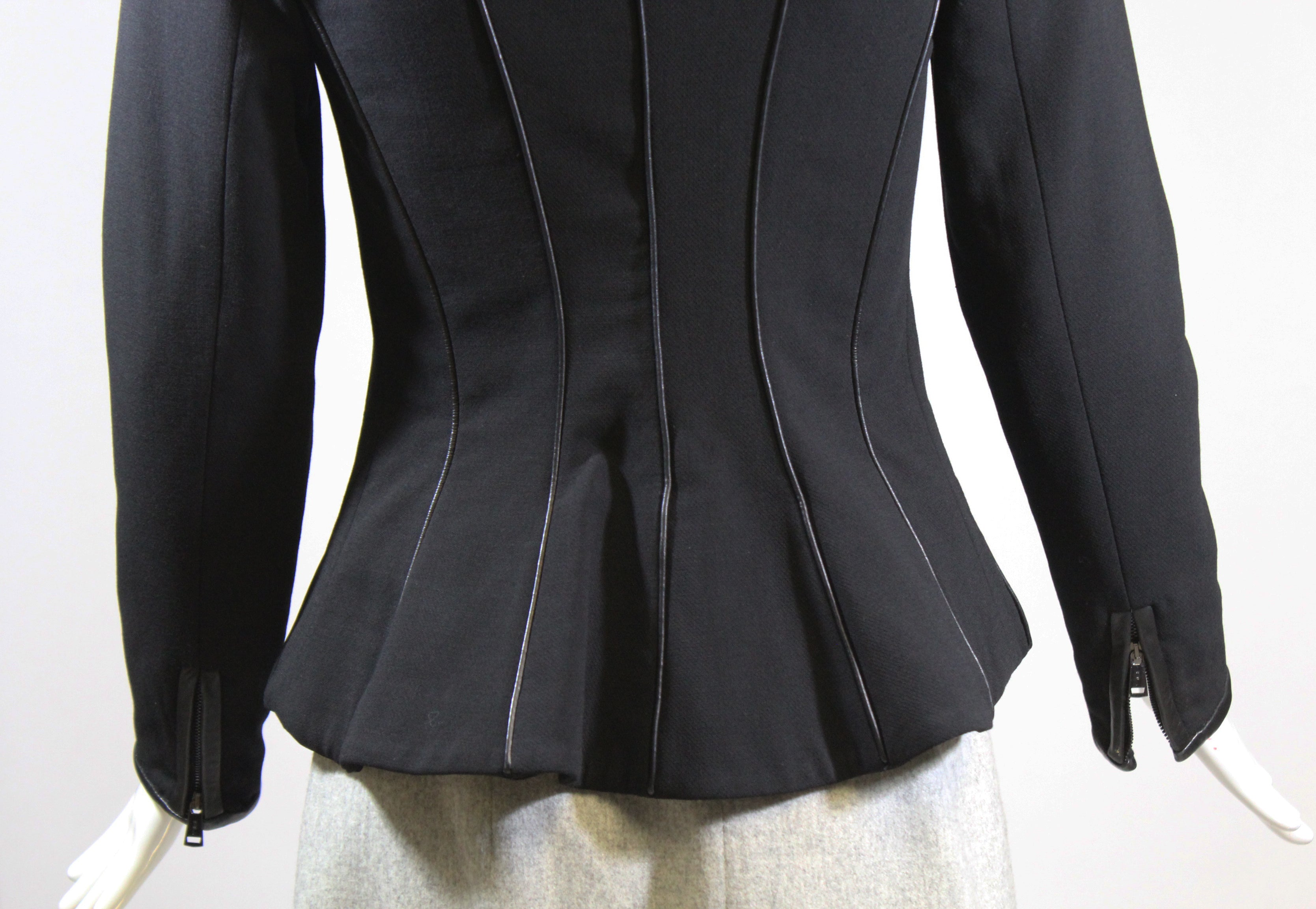 Ralph Lauren Black Label Wool Zip Front Lamb Leather Trim Blazer Jacket Italy 2