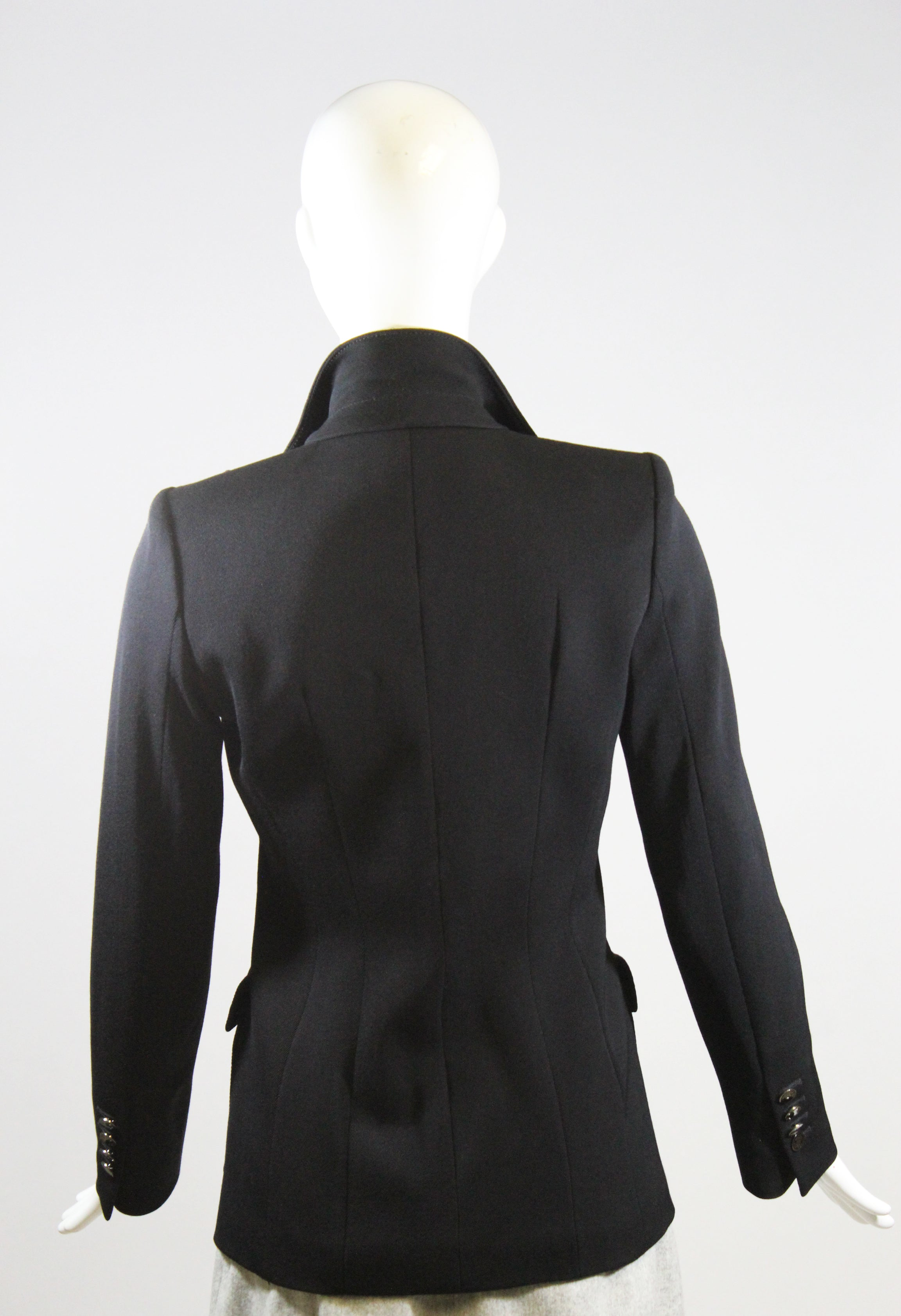 ROBERTO CAVALLI Black Wool Notched Lapel Button Flap Pocket Blazer Jacket IT 38