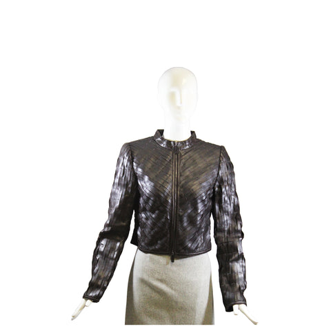 ELIE TAHARI Bergdorf Goodman Black Leather Pleated Grosgrain Trim Zip Jacket XS