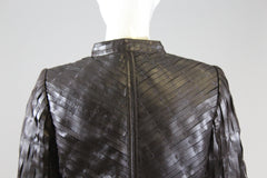 GIORGIO ARMANI Dark Brown Lamb Leather Zip Front Silk Lined Blazer Jacket M 40