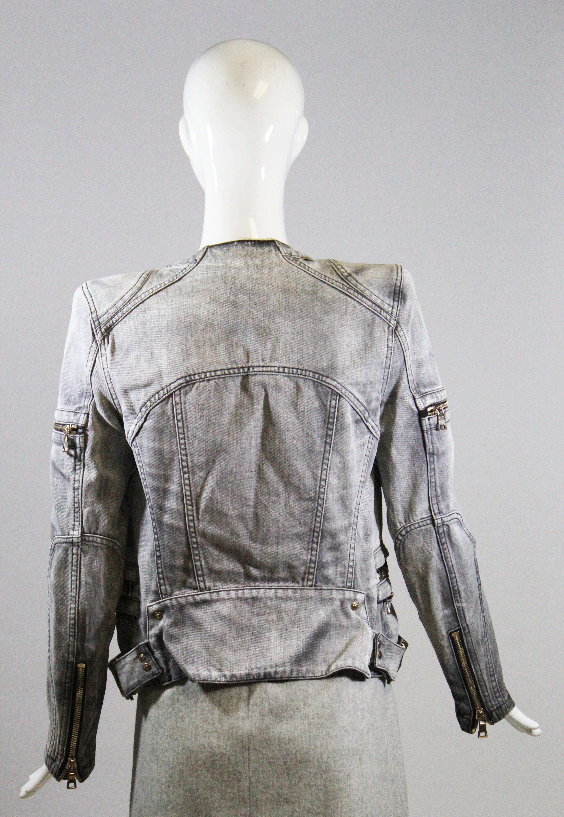 BALMAIN Gray Antique Black Denim Zip Detail Cotton Moto Biker Jacket 38 $2495 GC