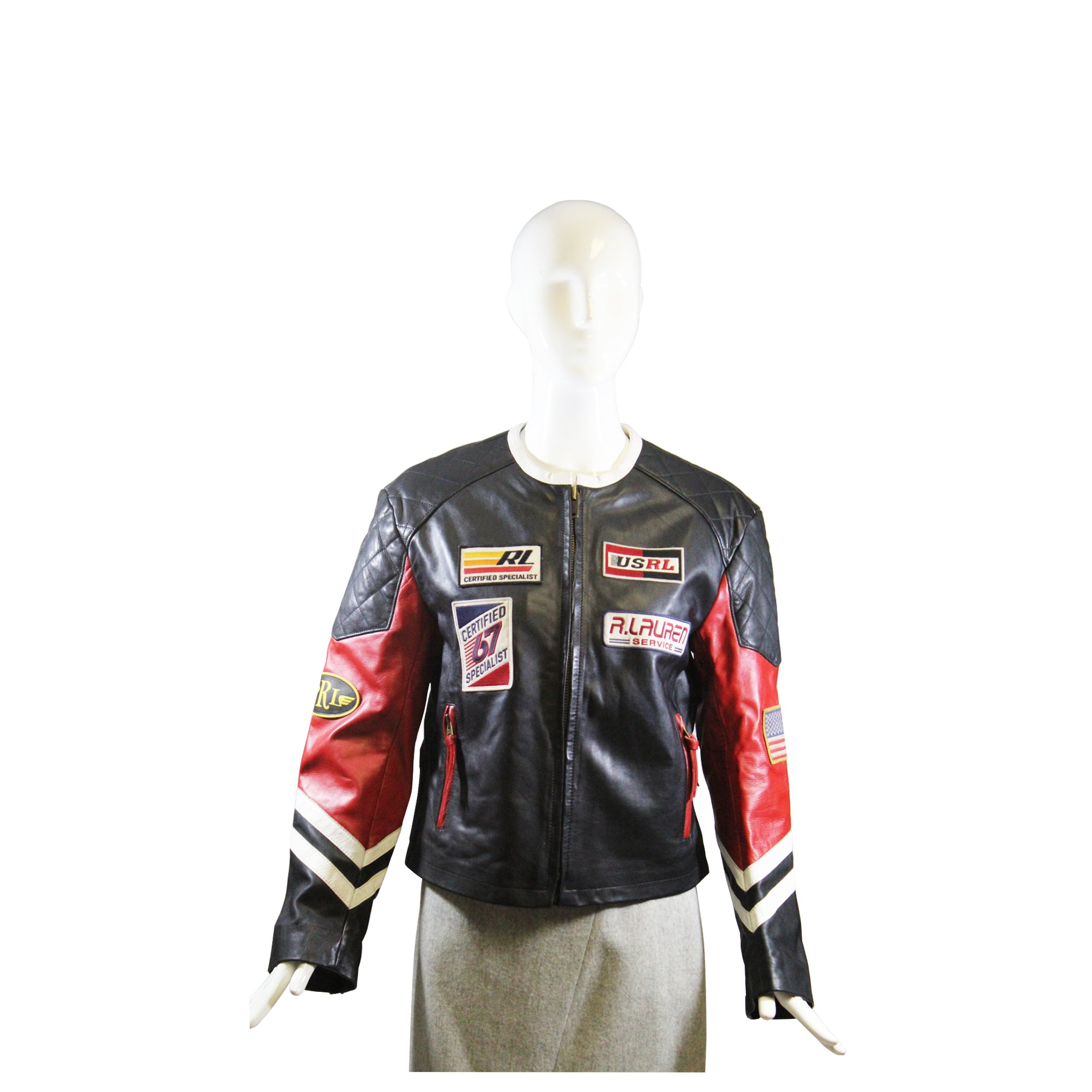 Sold Polo Ralph Lauren Red Black White Patchwork Leather Biker Racin Encore Resale Com