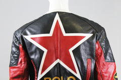 POLO Ralph Lauren Red Black White Patchwork Leather Biker Racing Jacket XS $1298