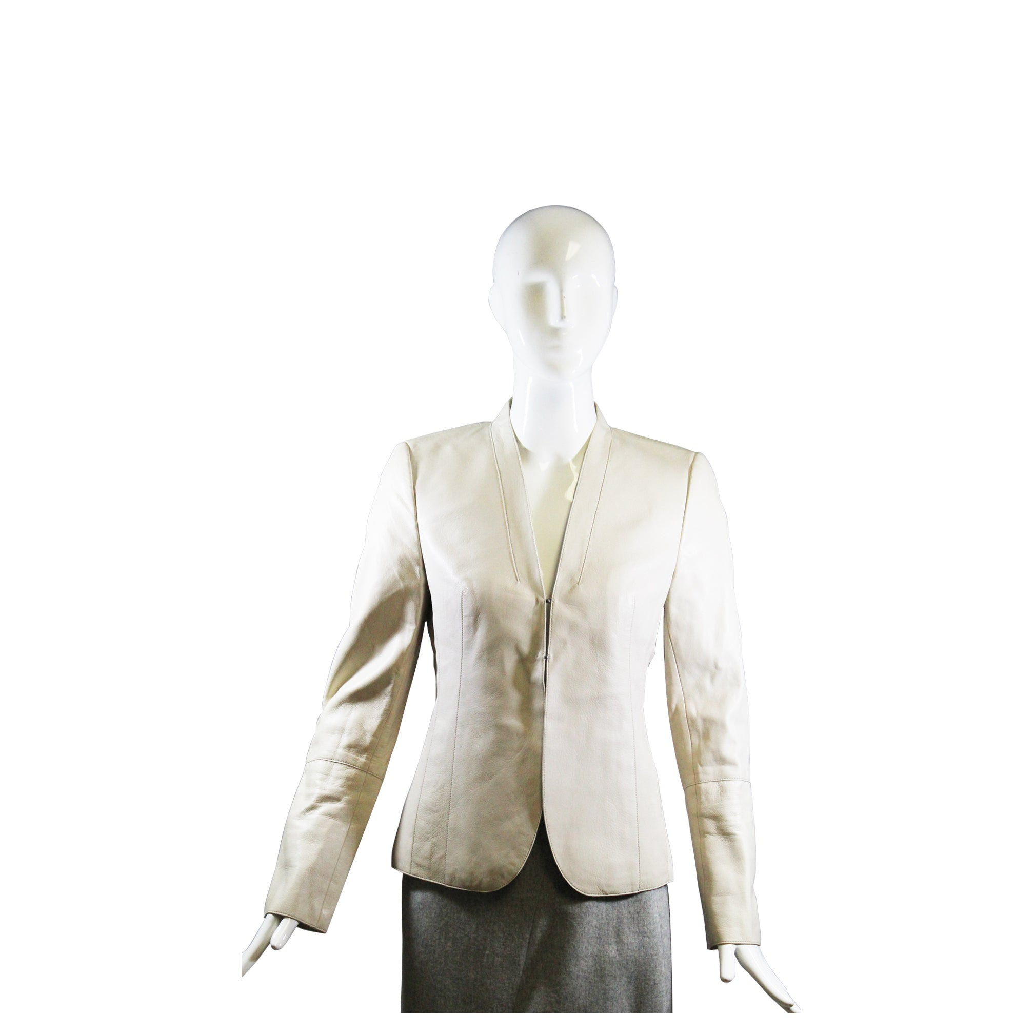 AKRIS Ivory Creme Ecru Beige Lamb Leather V Neck Hook/Eye Blazer Jacket F38 US 6