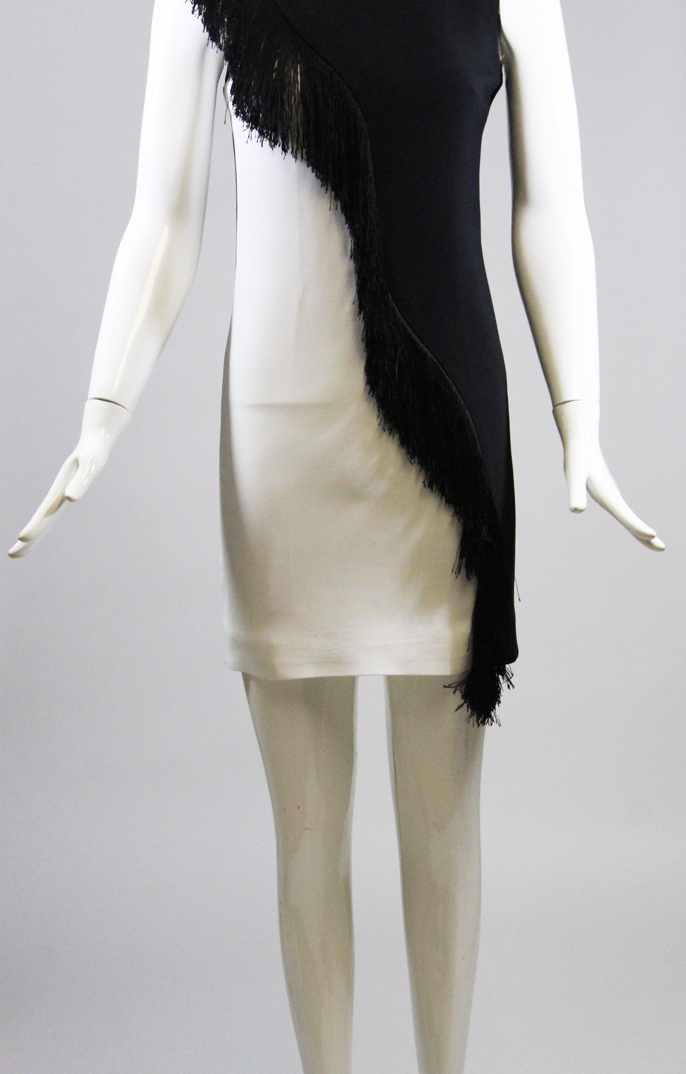 CUSHNIE ET OCHS Nisa Black White Asymmetric Two Tone Fringed Sleeveless Dress 2