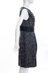 J. MENDEL Gray Black Tweed Crystal Flower Sleeveless Pleated Wool Sheath Dress 8