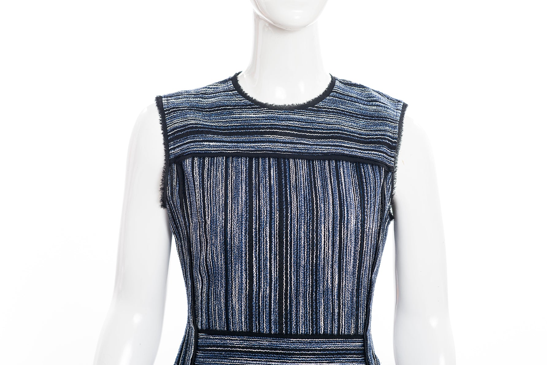 JASON WU Black White Metallic Blue Tweed Cotton Blend Sleeveless A Line Dress 2