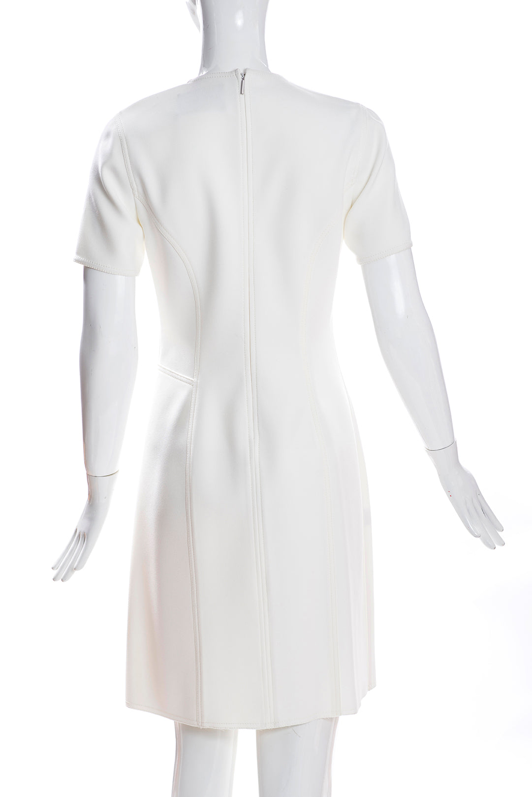 JASON WU Ivory Creme Crepe Jewel Neck Short Sleeve Mock Wrap Sheath Dress 4 GUC
