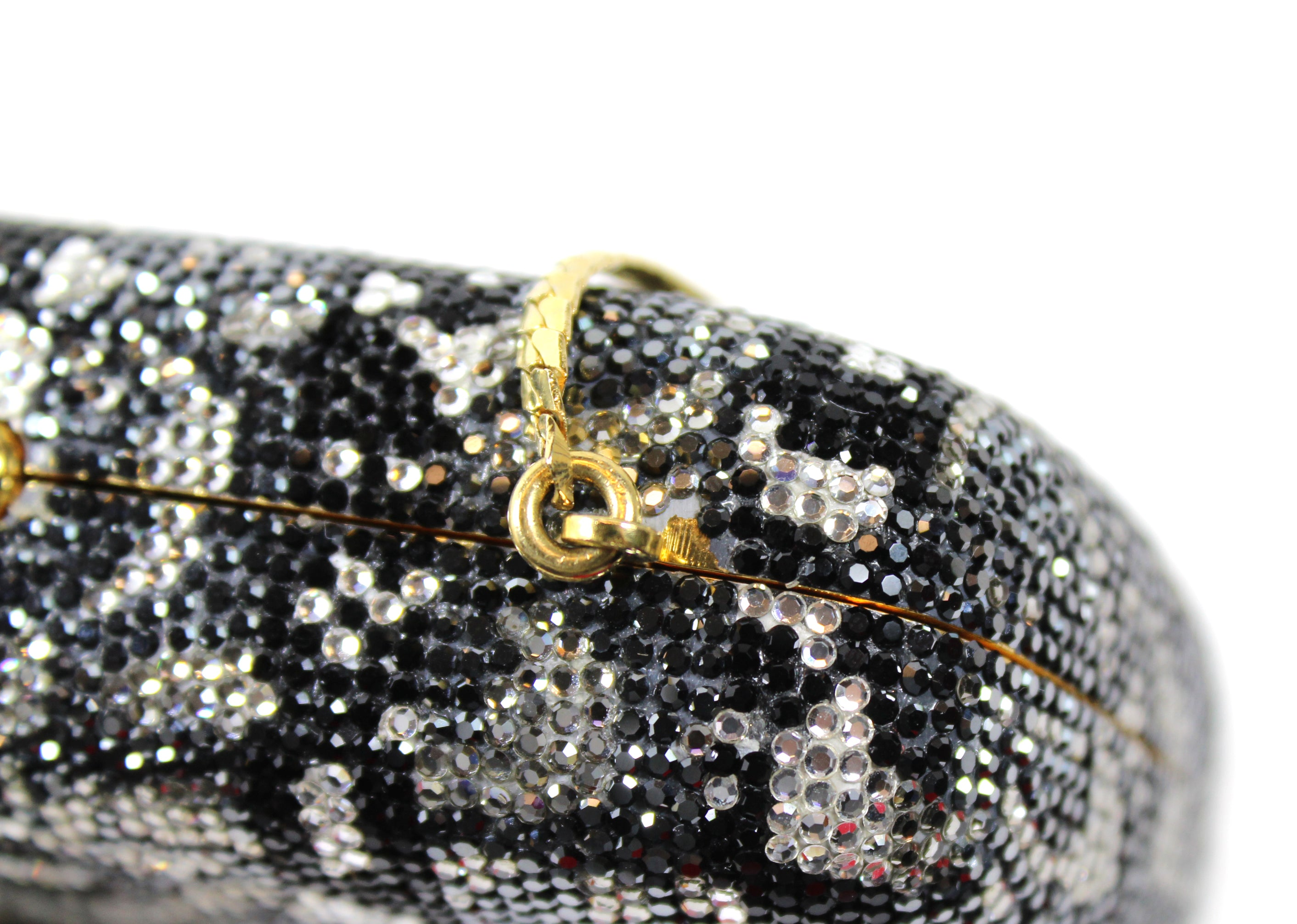 Judith Leiber Snakeskin Patterned Crystal Embellished Clutch