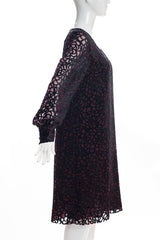 JUNYA WATANABE COMME des GARCONS Burgundy Honeycomb Velvet Long Sleeve Dress L