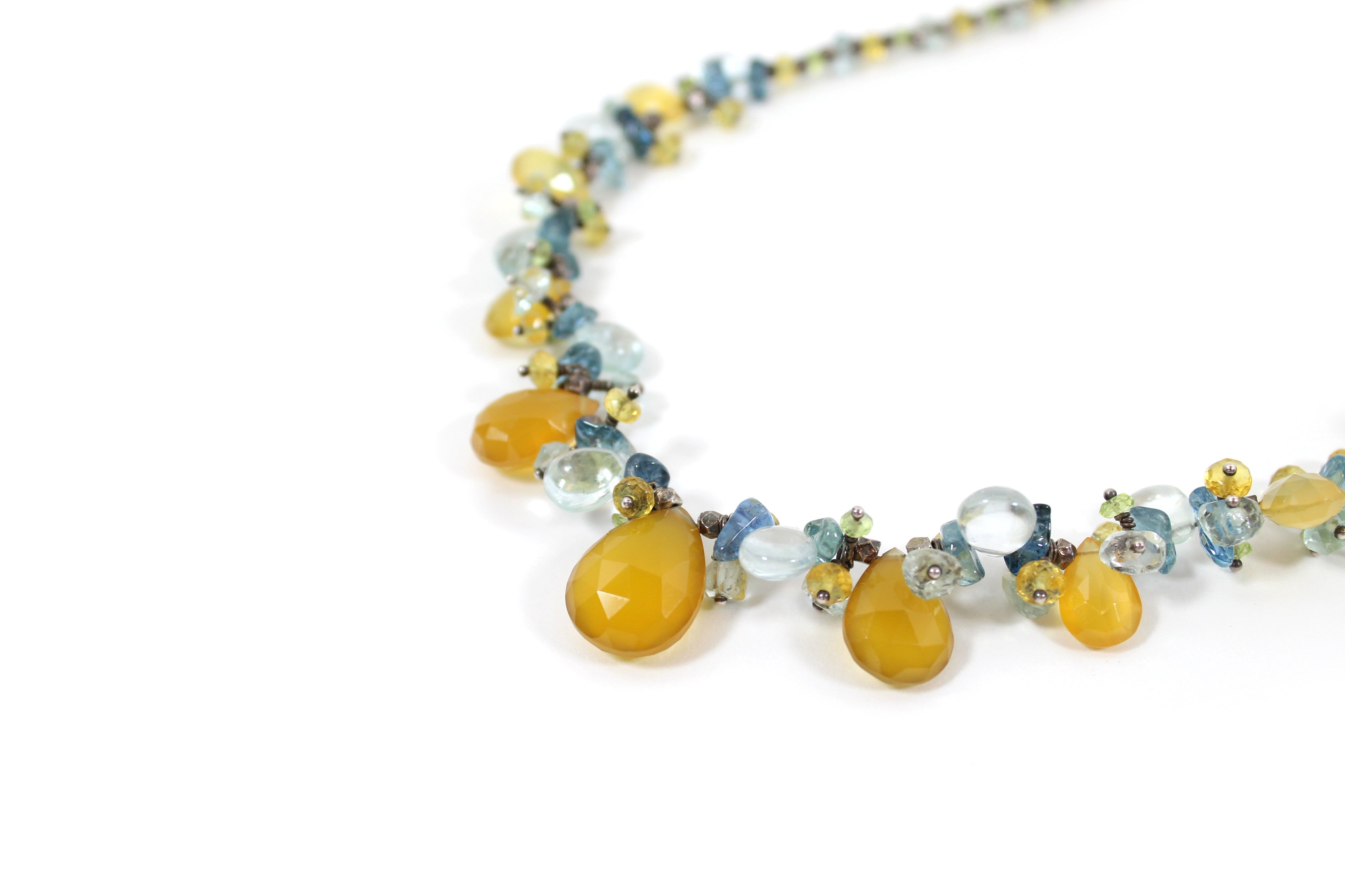 Laura Gibson Multi-color Gemstone Beaded Briolette Necklace