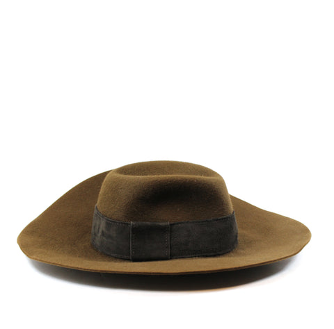 Loro Piana Brown Raw Hare Floppy Hat (Size M)