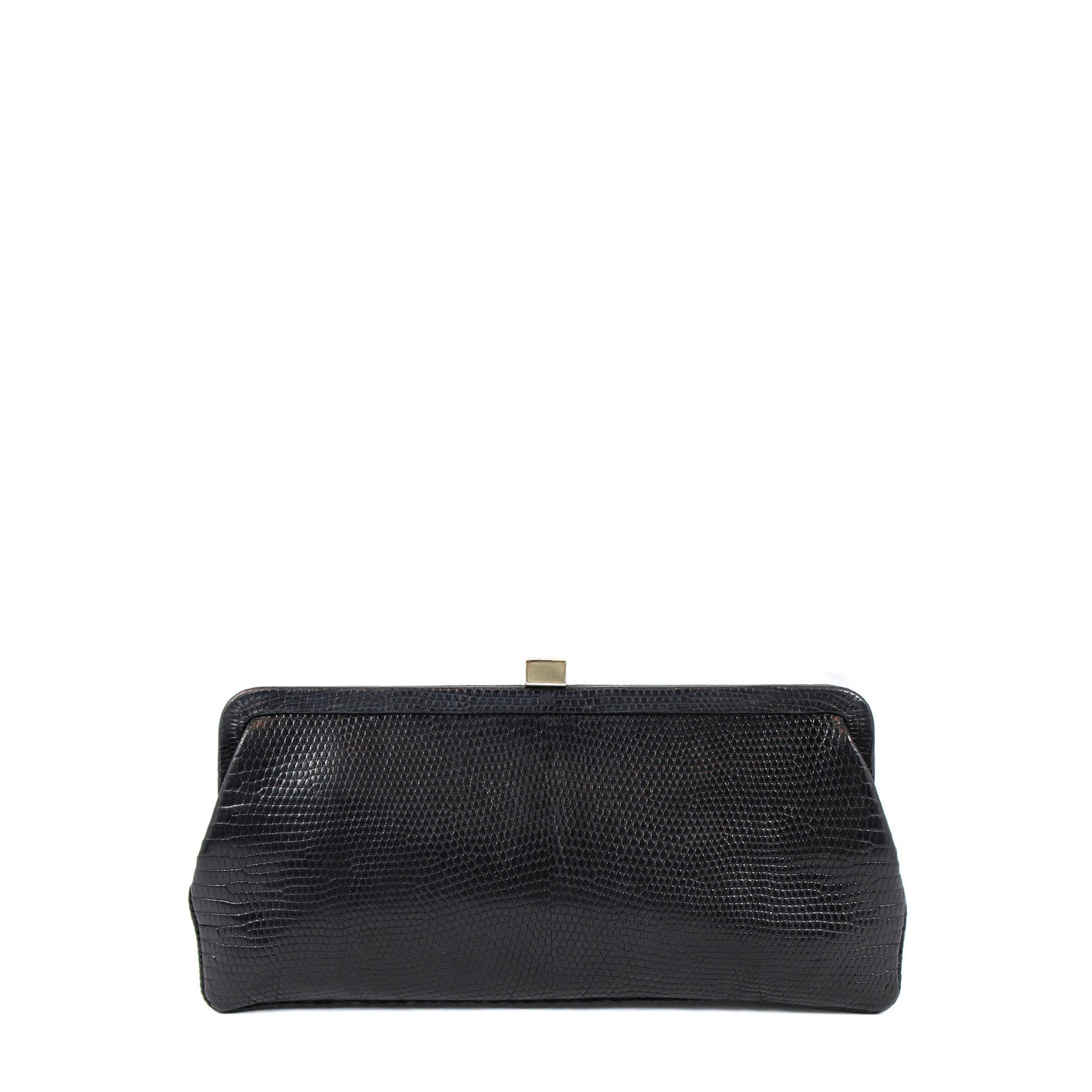 Lambertson Truex Black Lizard Clutch - Encore Consignment - 1