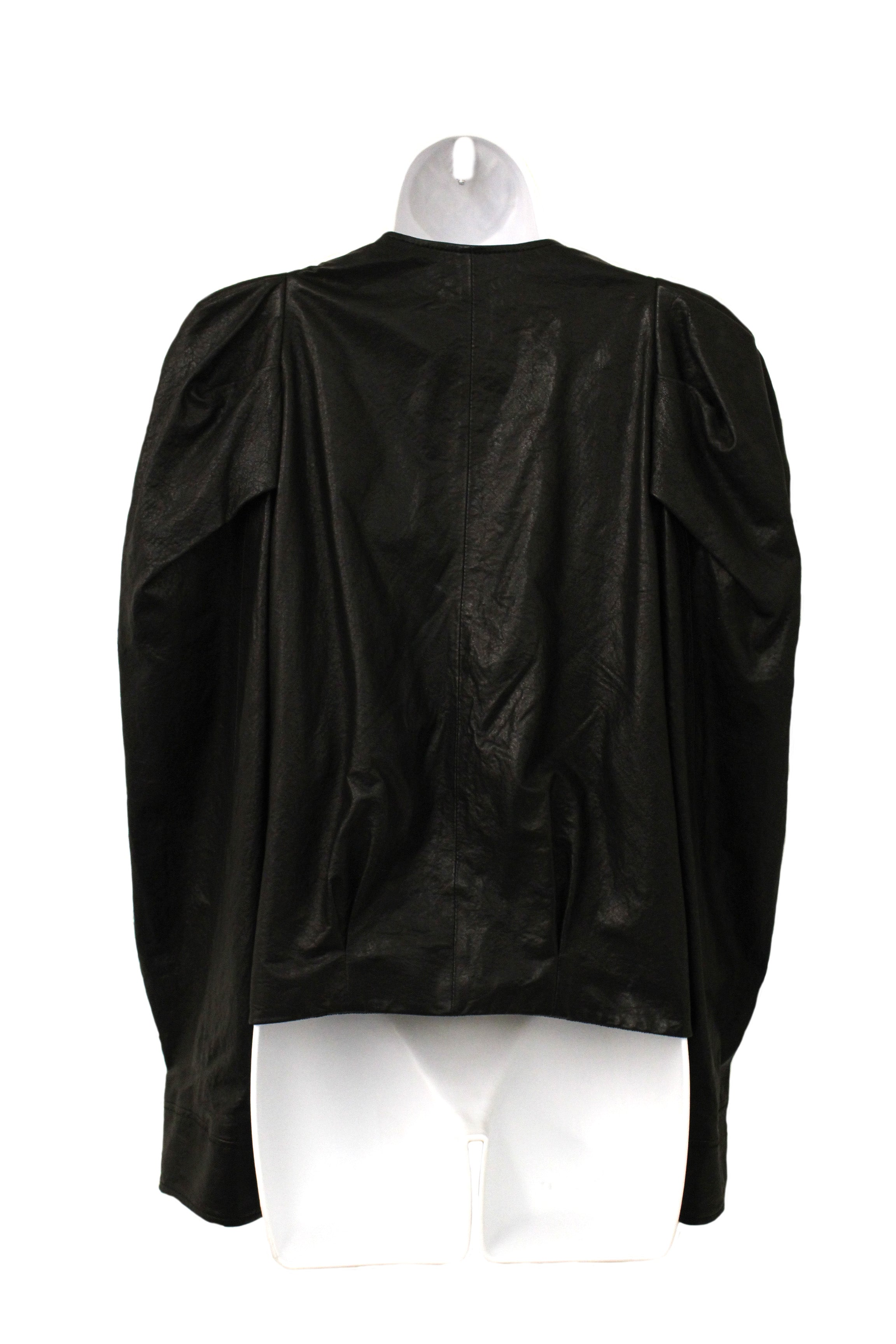 'Sold' Lanvin Black Leather Puffed Sleeve Jacket (Size 36)