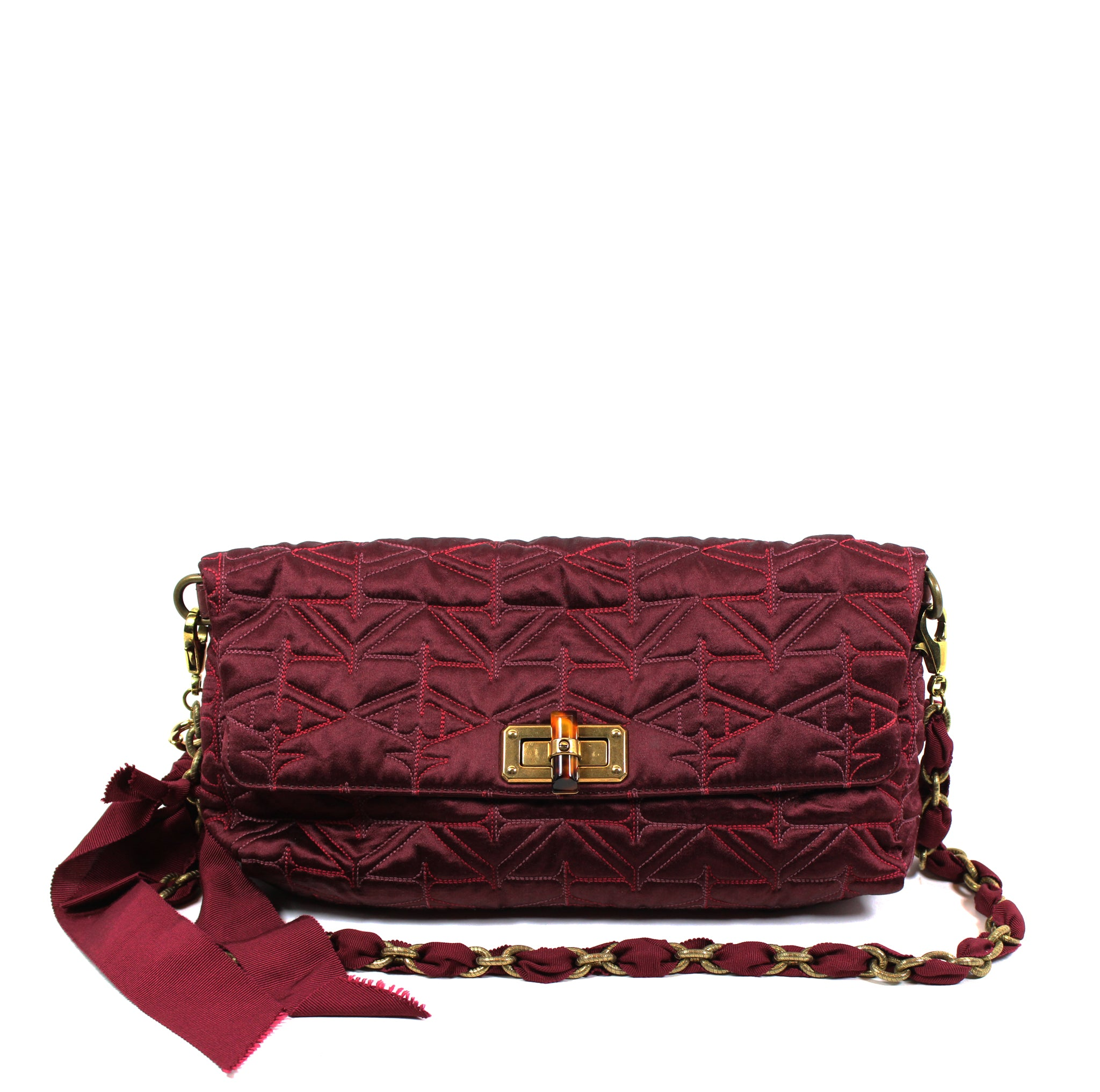 Lanvin 39 Happy 39 Wine Red Satin Shoulder Bag With Chain
