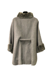 Loro Piana Gray Cashmere/Wool Cape with Fur Trim (Size S)