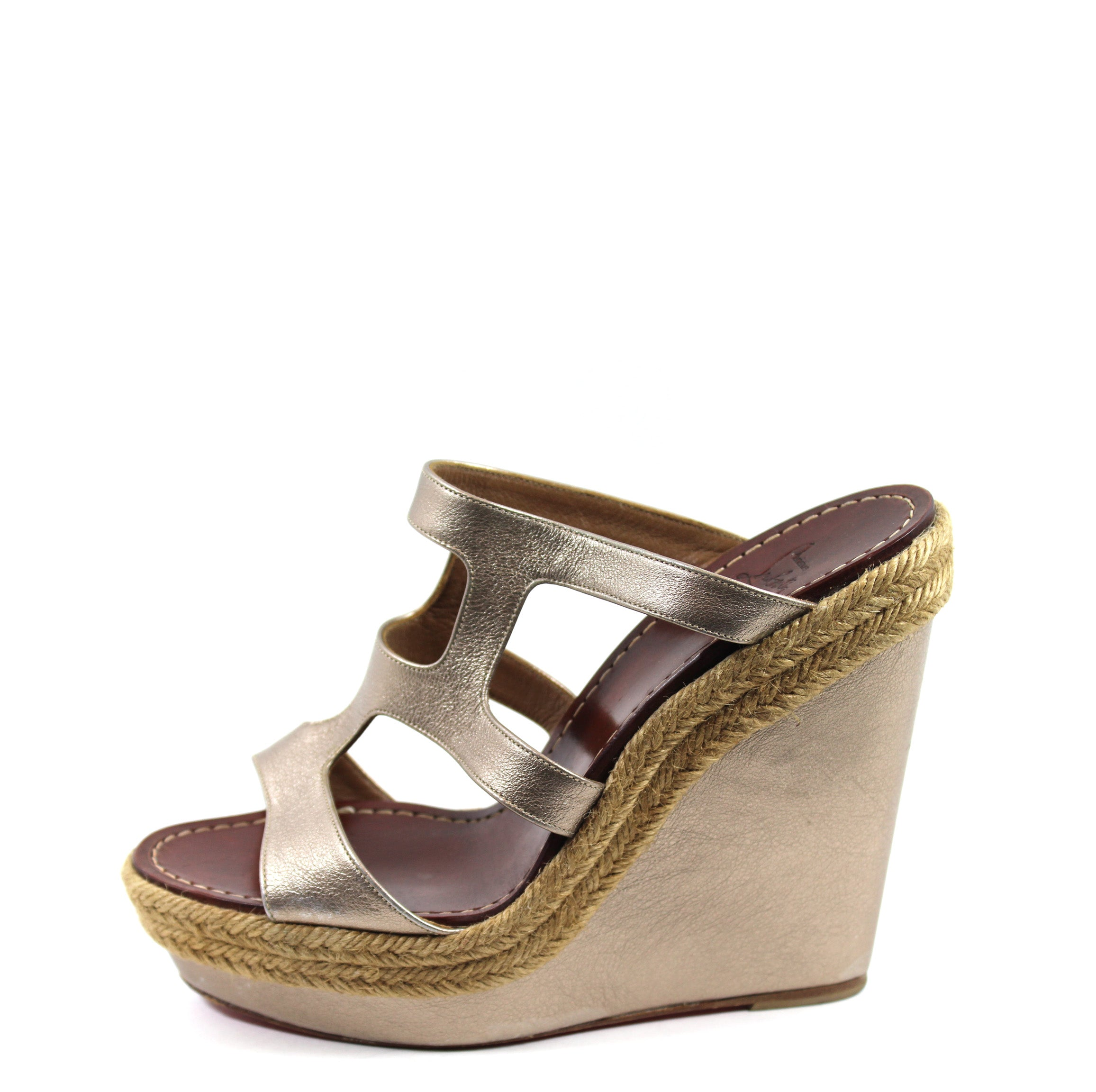 66e43bb8aa5 Christian Louboutin Gold Cut-out Leather Platform Wedges (Size 39) – Encore  Consignment
