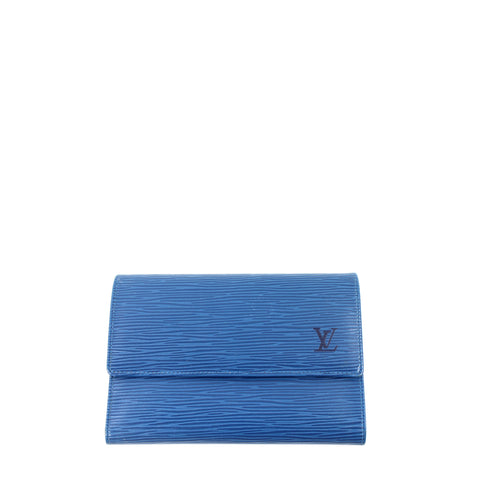 Louis Vuitton Blue Epi Leather Flap Wallet