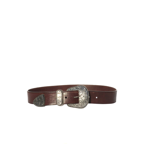 ETRO Dark Brown Leather Peg In Hole Silver Ornate Buckle Tip Waist Belt 85cm 32