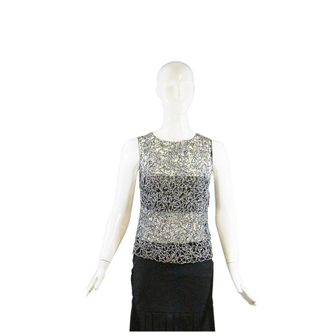 CHANEL 16P Black Cotton Cashmere Pearl Embellished Sleeveless Sweater Dress 40