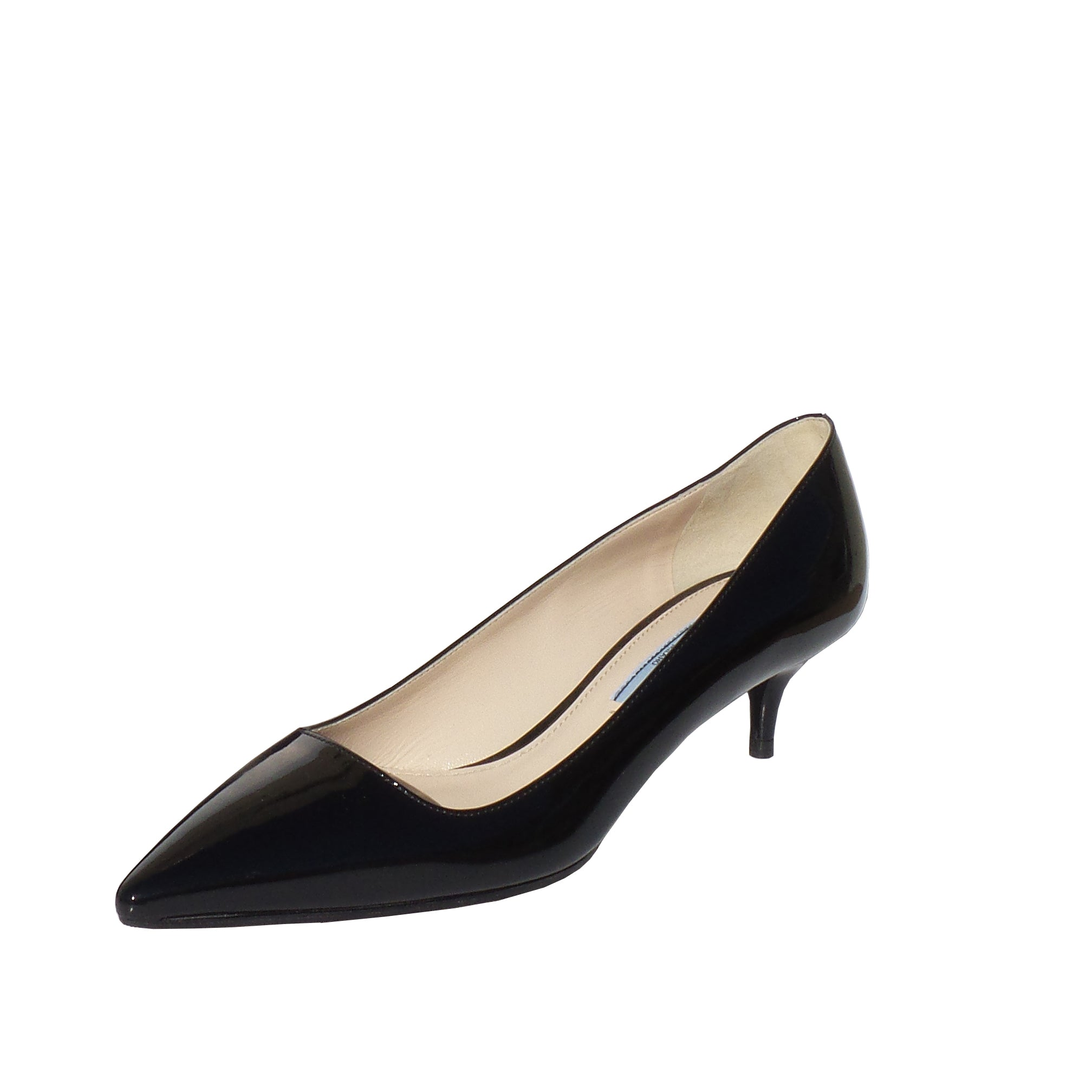 c1d6126cdf PRADA Black Patent Leather Pointed Toe Mid Kitten Heel Classic Pumps 3 –  Encore Resale.com