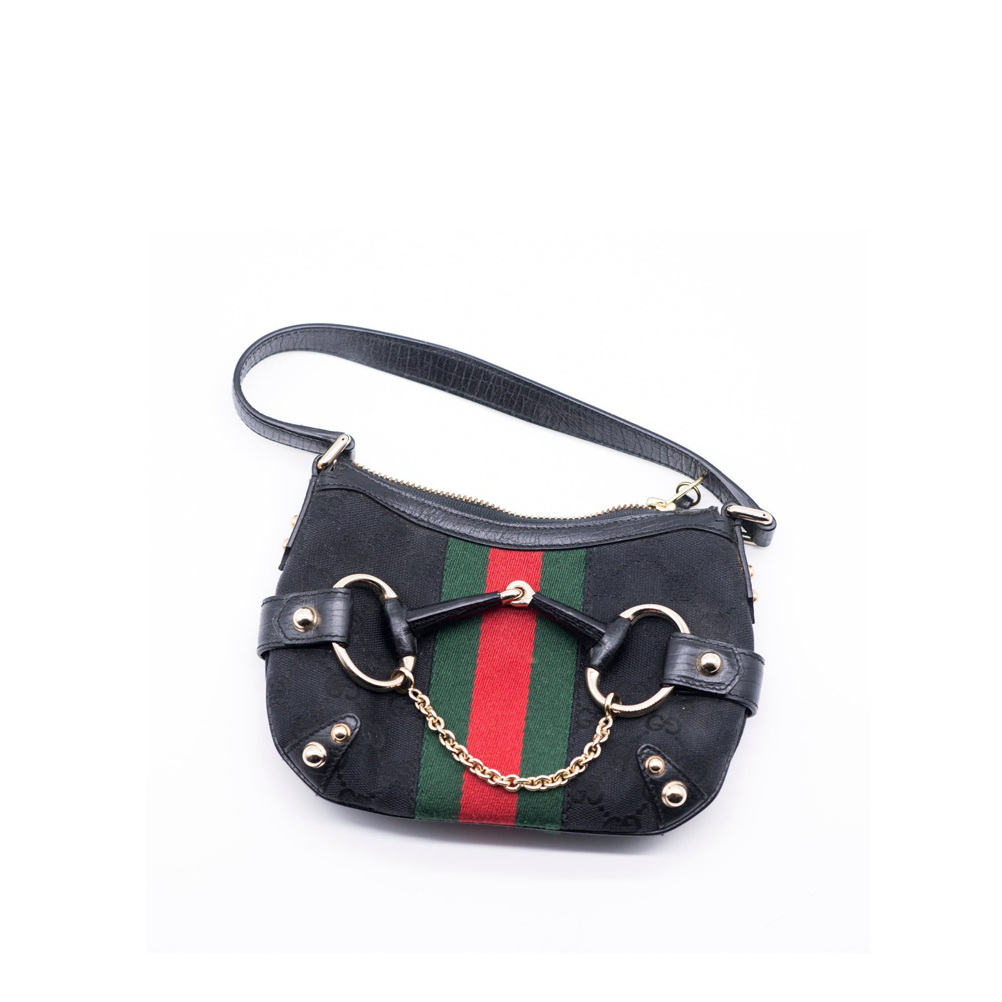 9e192988bd5 GUCCI Monogram GG Canvas Web Gold Horsebit Chain Mini Shoulder Bag Tom –  Encore Resale.com