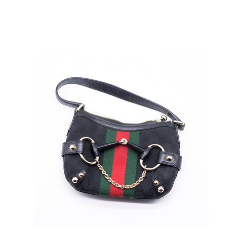 Prada Black/White/Red Saffiano Leather Gusseted Handbag