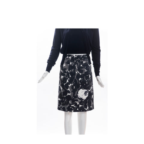 MARNI Gray Black White Abstract Floral Print Back Zip Straight A-Line Skirt 40