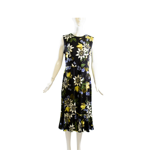 ERDEM PS18 Black Varo Passion Floral Print Stretch Ponte Grazia Dress IT46 US 10
