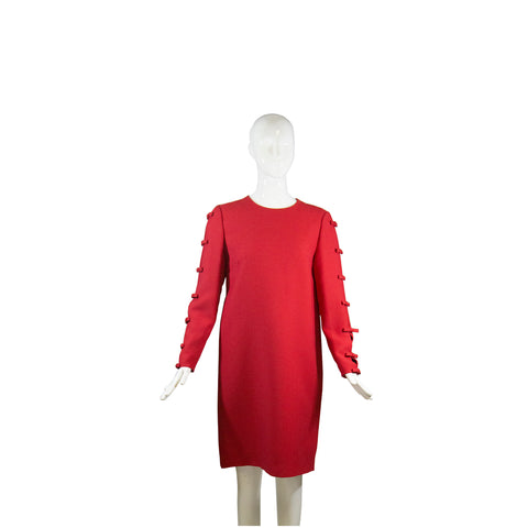 VALENTINO Red Bow Accented Cut Out Long Sleeve Wool Silk Shift Dress Italy M