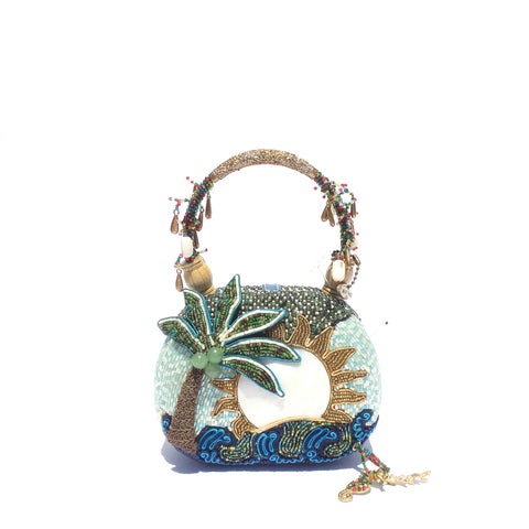 'Sold' MARY FRANCES Coconut Grove Palm Tree Beaded MOP Sun Gold Top Handle Framed Bag