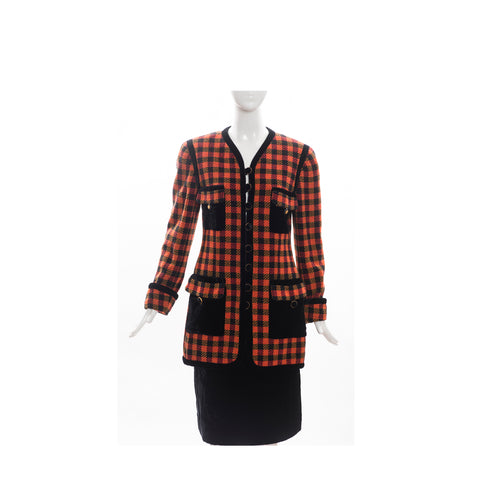 CHANEL Boutique Red Orange Check Tweed Black Velvet Blazer Skirt Suit 42 Vintage