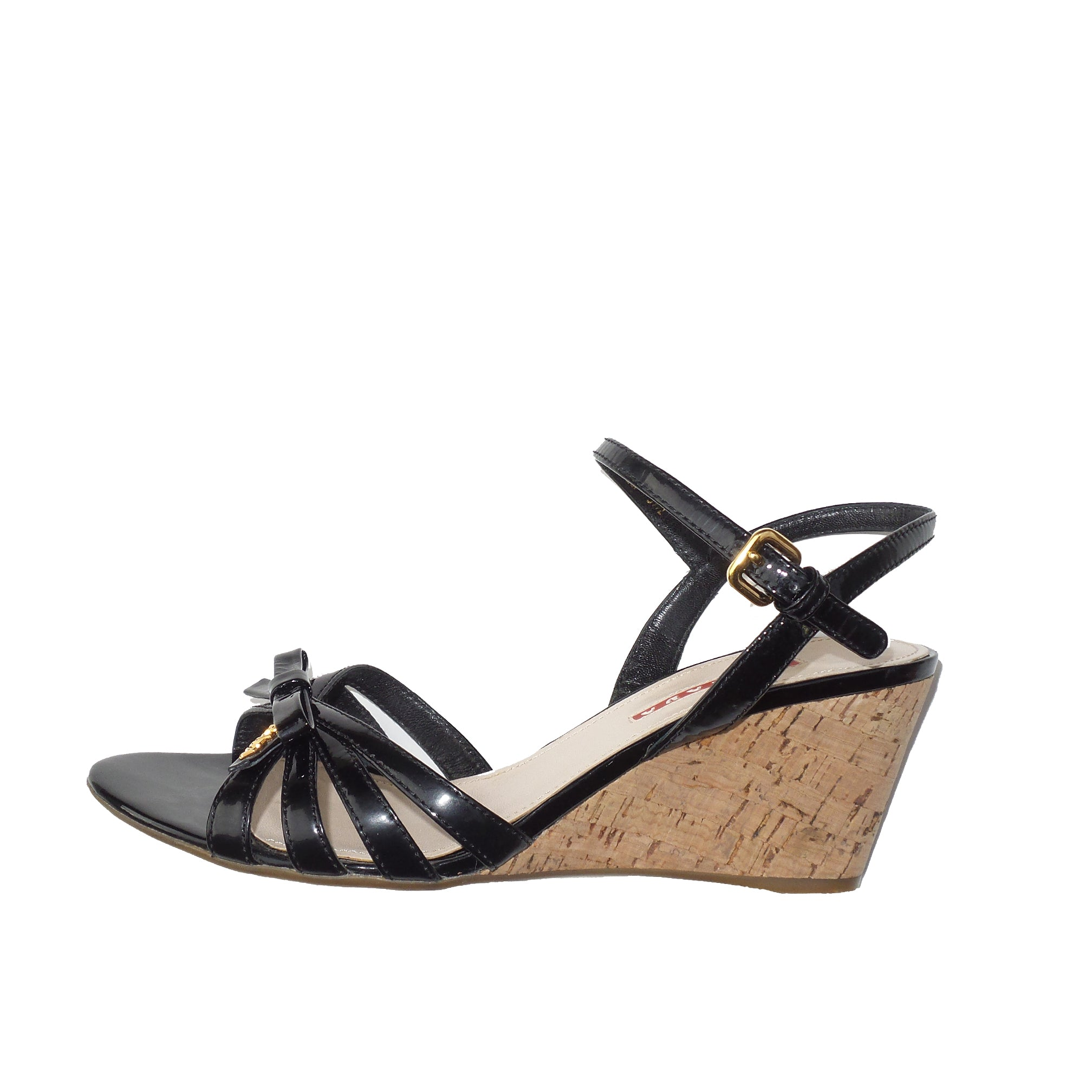 0cfe212546ab PRADA Sport Black Patent Leather Strappy Bow Cork Wedge Heel Sandals 3 –  Encore Resale.com