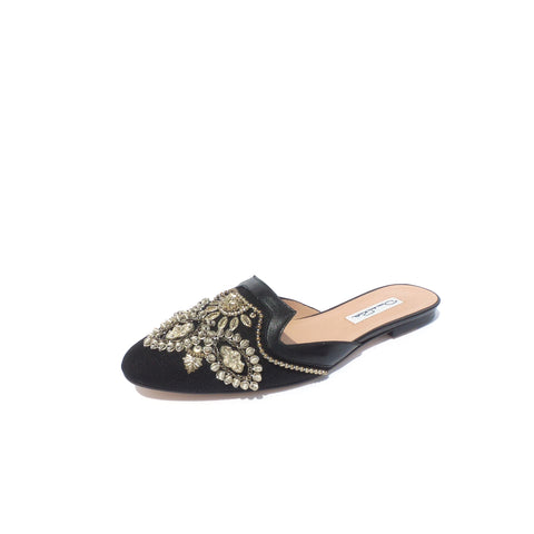 $690 OSCAR DE LA RENTA Black Leather Embellished Canvas Spanish Mule Slide Flats 38.5