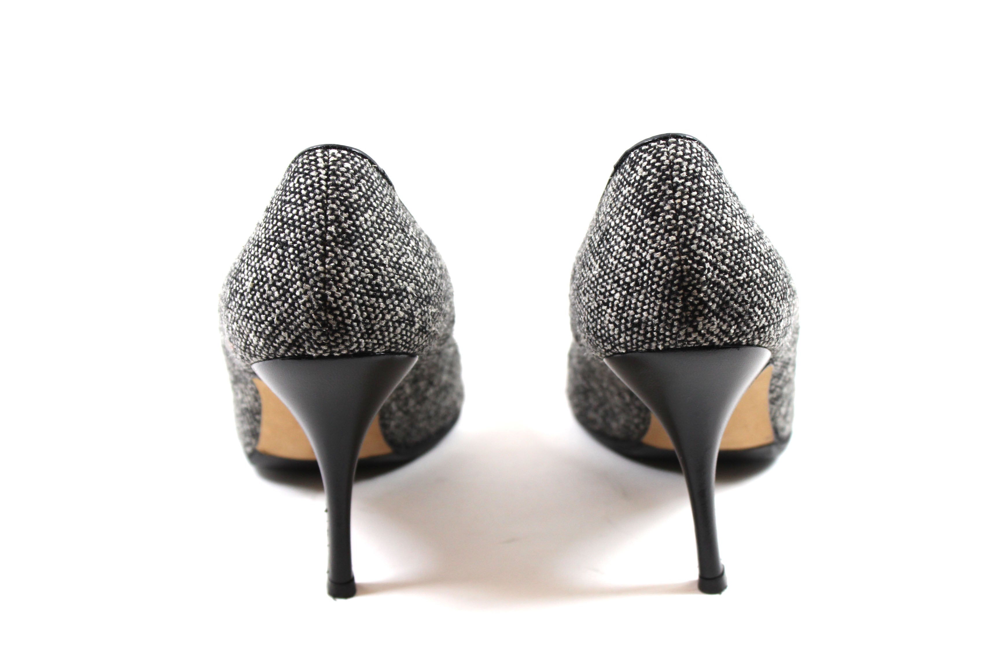 Manolo Blahnik Monochrome Tweed Pumps (Size 37)