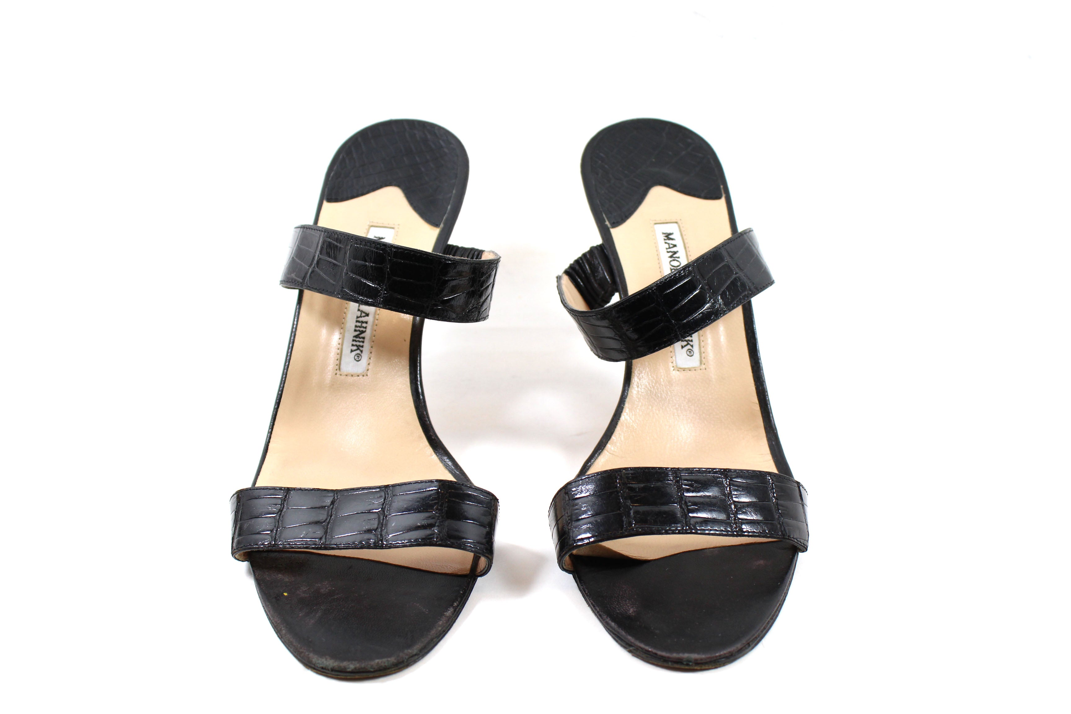 Manolo Blahnik Black Crocodile Dual Strap Sandals (Size 40.5)