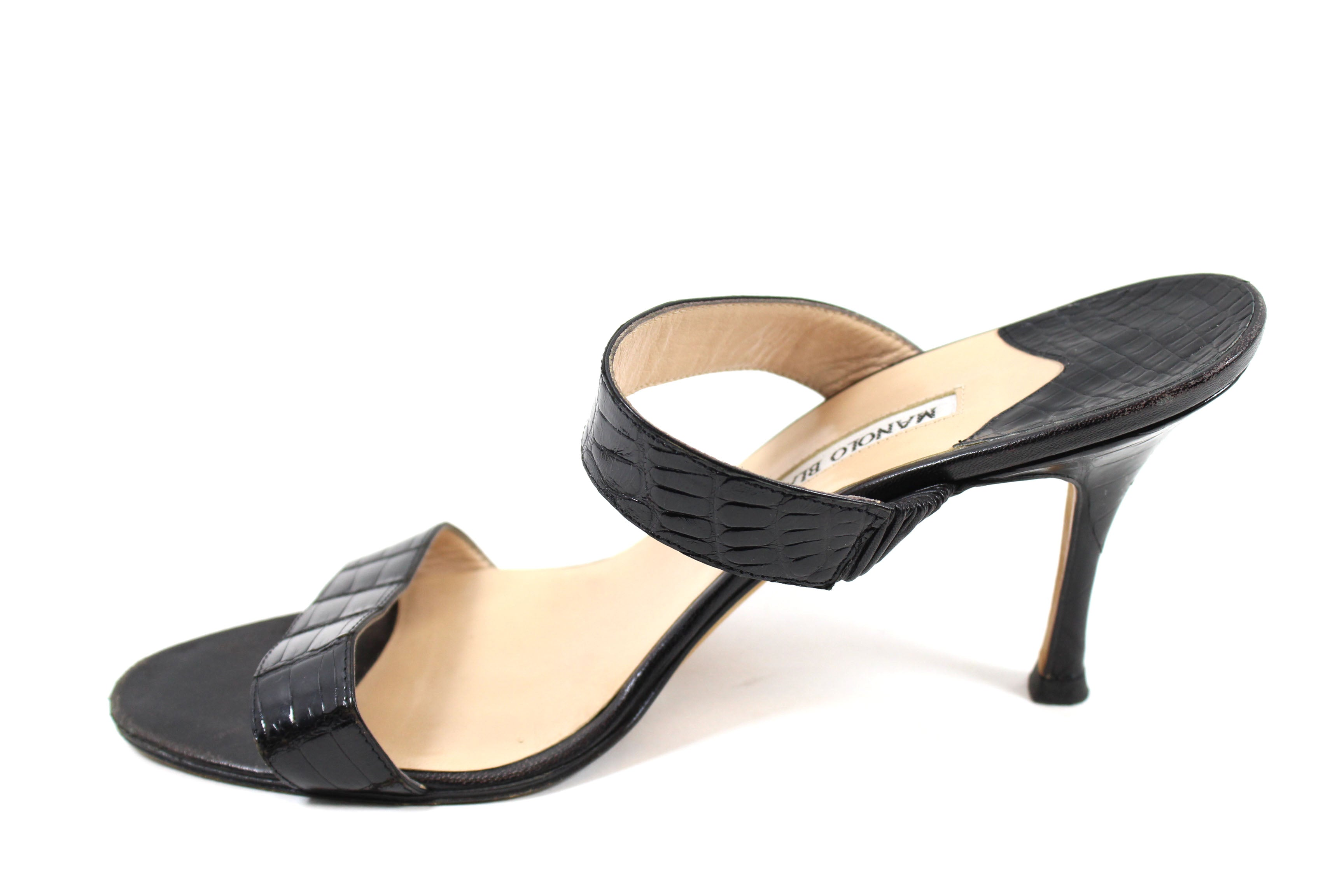 'Sold' Manolo Blahnik Black Crocodile Dual Strap Sandals (Size 40.5)