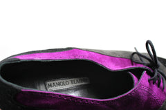 Manolo Blahnik Black/Charcoal/Purple Suede Lace-up Heels (Size 41.5)