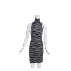 MISSONI Gray White Open Knit Black Sleeveless Turtleneck Back Zip Dress 38 XXS