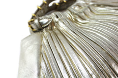 Miu Miu Metallic Gold Pleated Leather Clutch