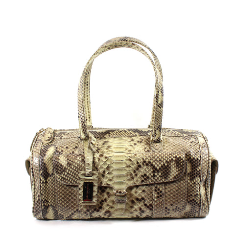 'Sold' Morabito Beige Shaded Python Duffel