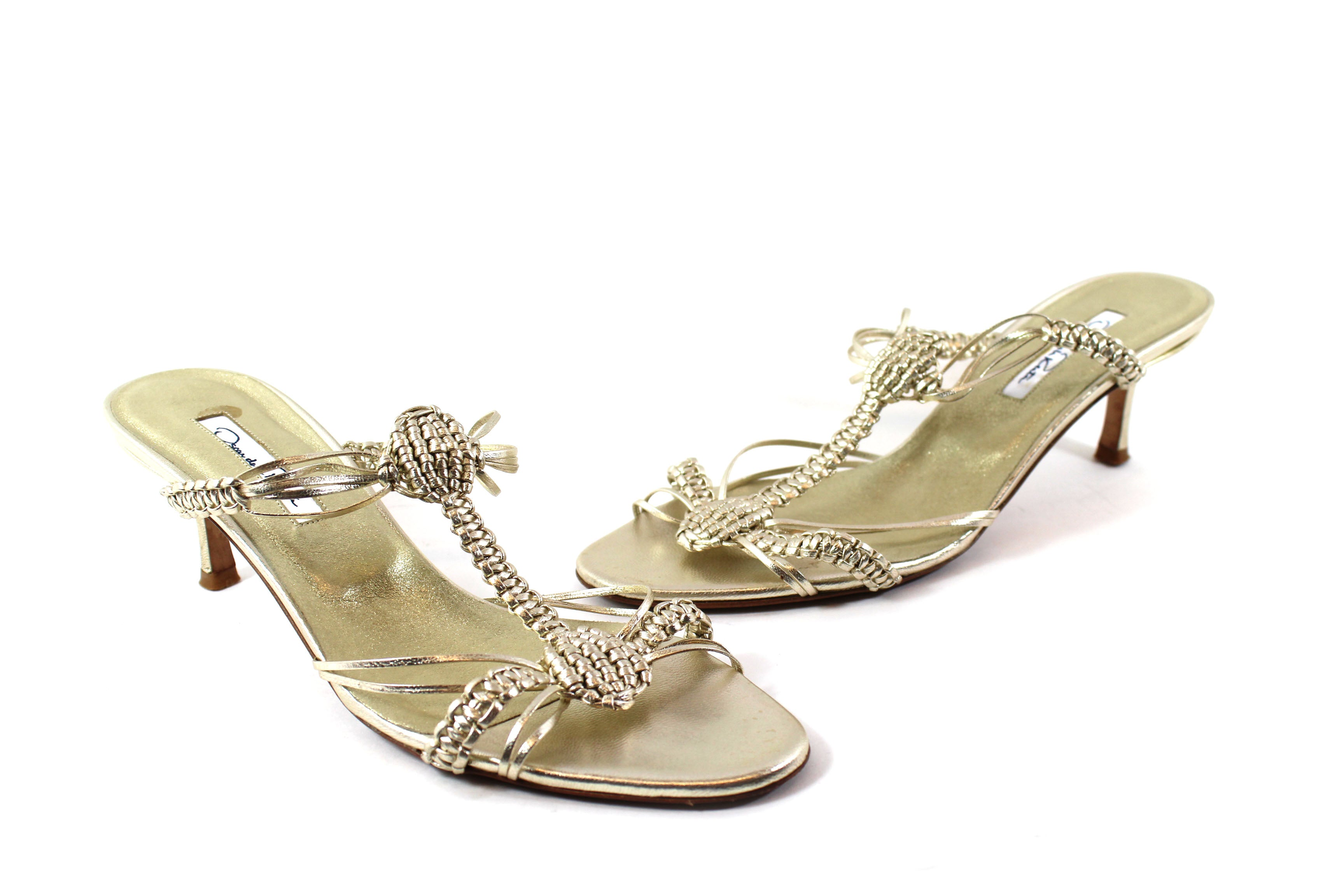 Oscar de la Renta Metallic Gold Braided Leather Sandals (Size 37.5)
