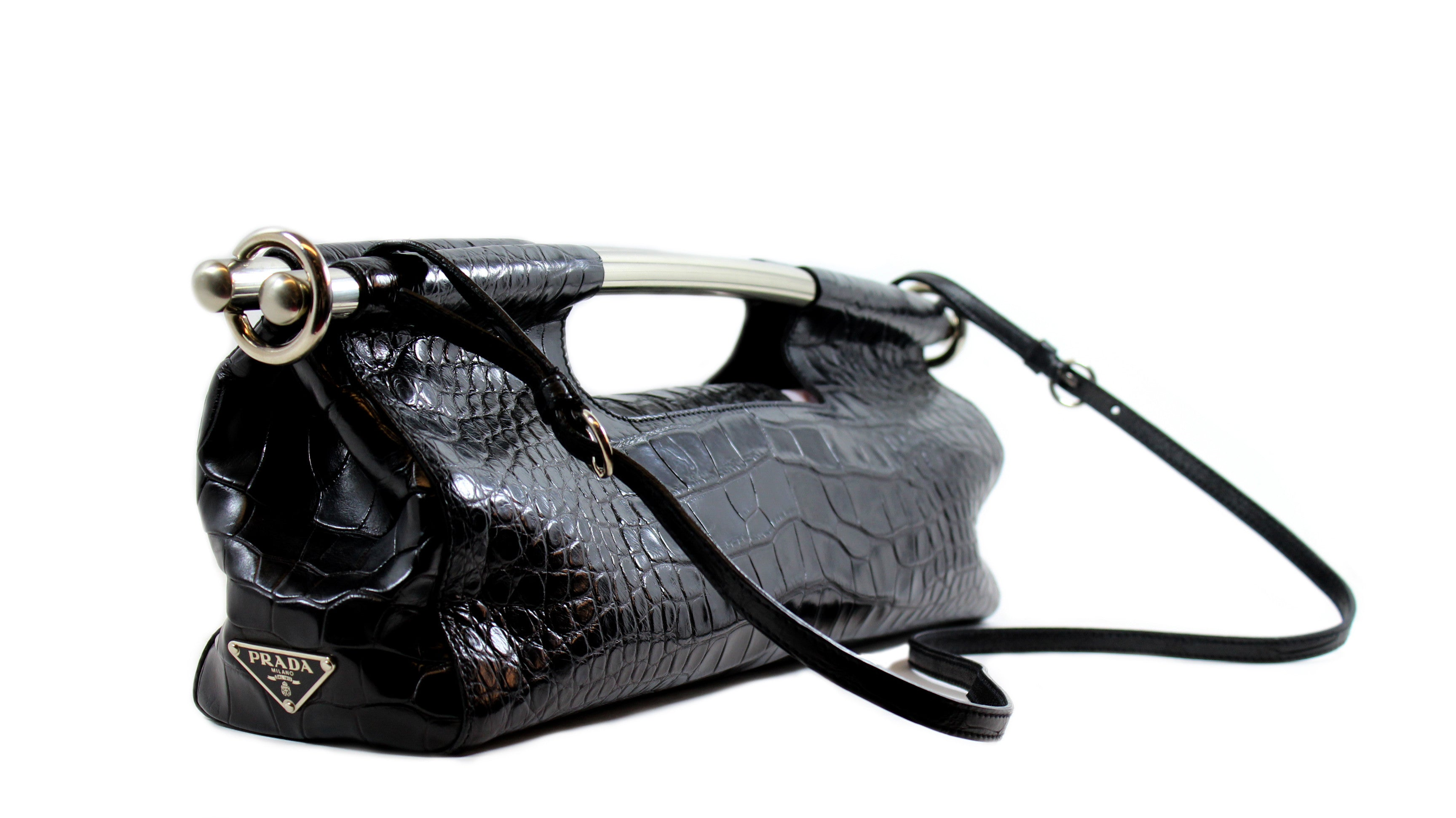 'Sold' Prada Black Cocco Bars Reptile Handbag