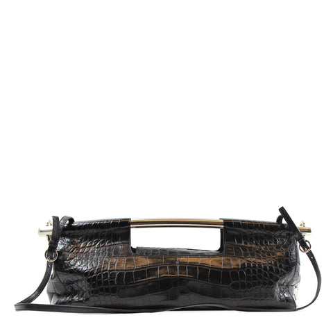 PERRIN Paris Black Calf Leather Asymmetric Glove Handle Flap Clutch Bag $995